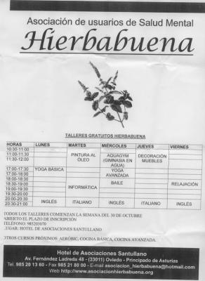 Actividades de la asociación Hierbabuena